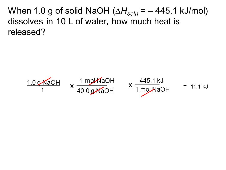 When 1. 0 g of solid NaOH (DHsoln = – 445