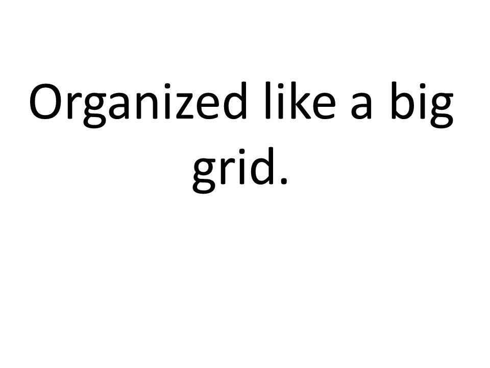 Organized like a big grid.