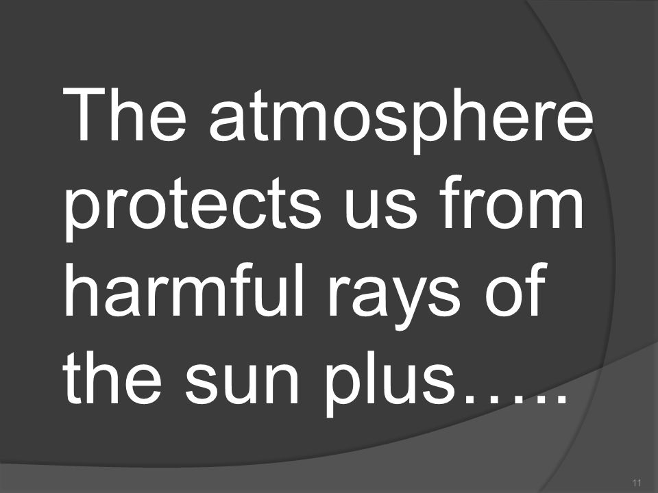 The atmosphere protects us from harmful rays of the sun plus…..