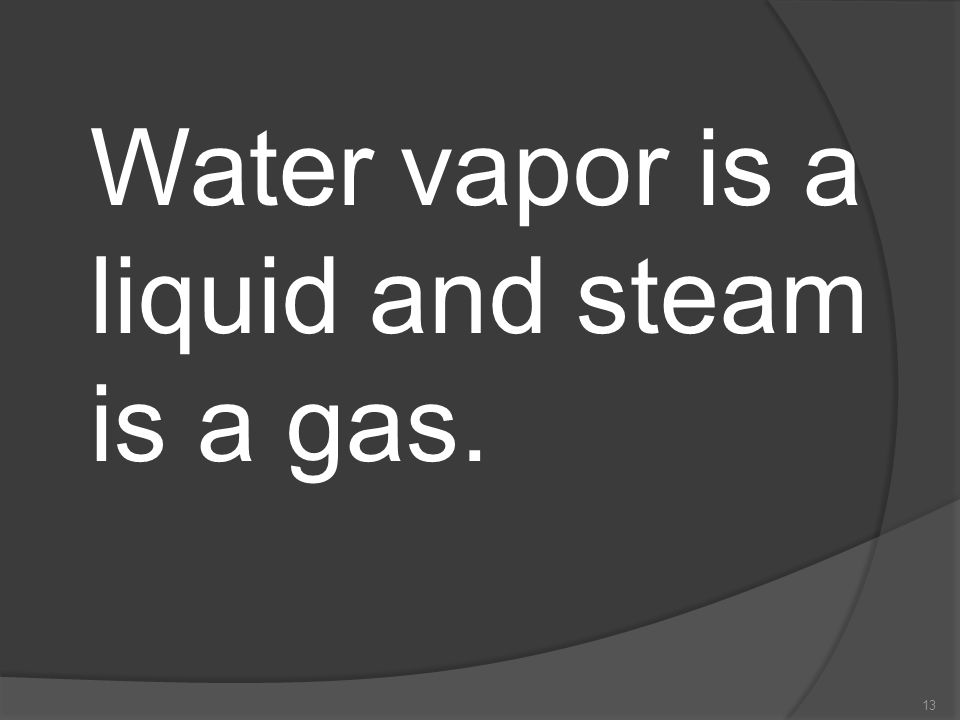 Water vapor is a liquid and steam is a gas.