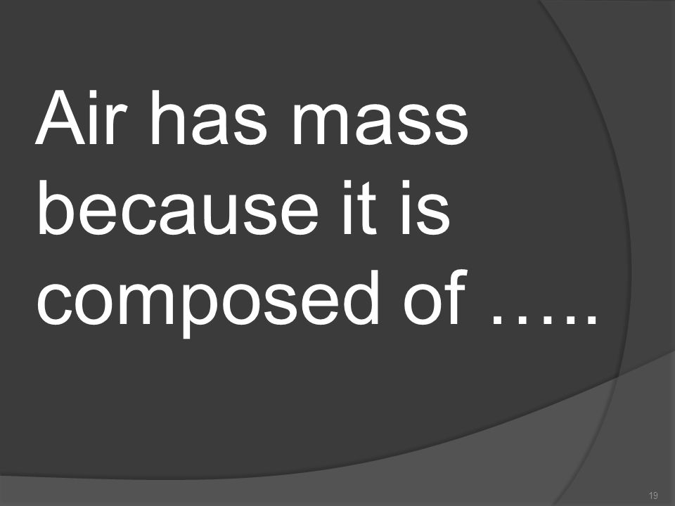 Air has mass because it is composed of …..