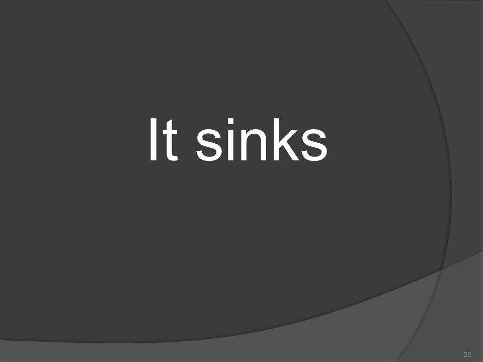 It sinks
