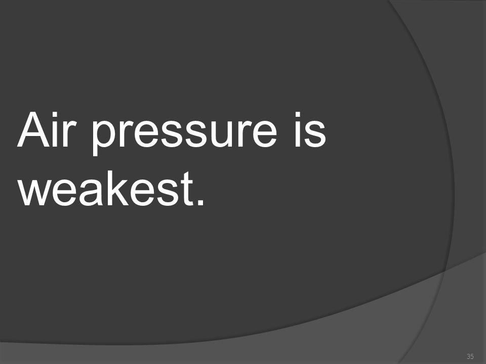 Air pressure is weakest.