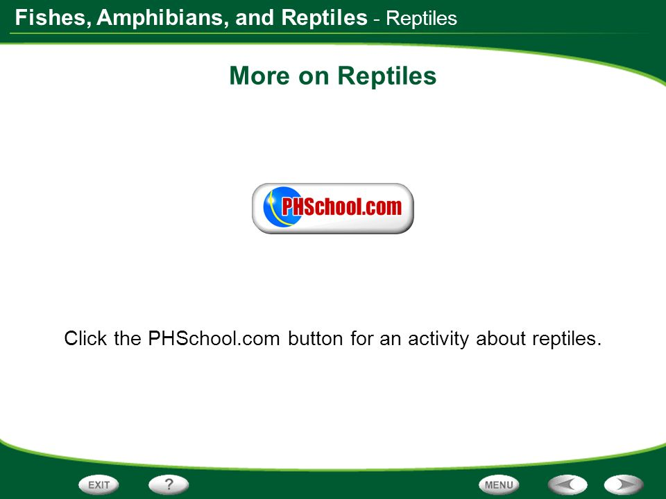 Click the PHSchool.com button for an activity about reptiles.