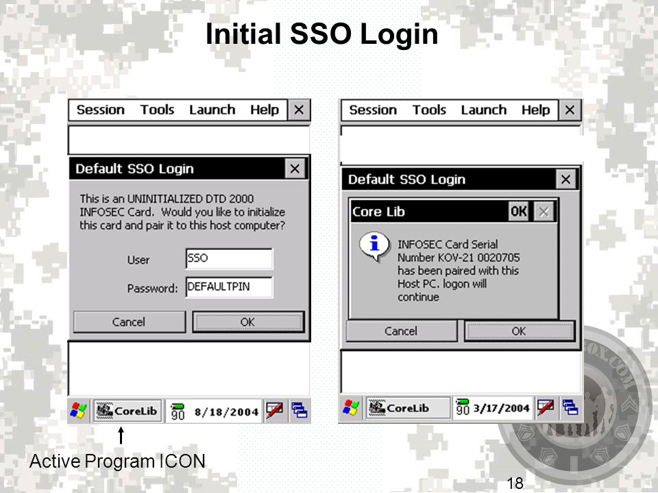 Initial SSO Login Active Program ICON At the Default SSO Login screen