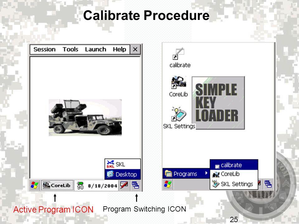 Calibrate Procedure Active Program ICON Program Switching ICON