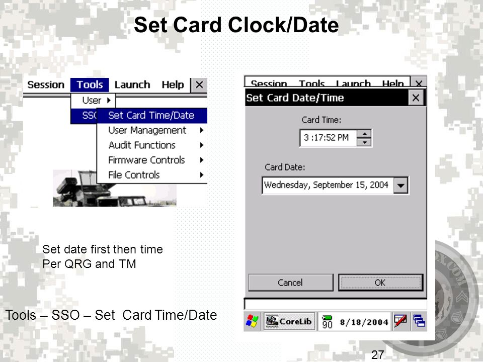 Set Card Clock/Date Tools – SSO – Set Card Time/Date