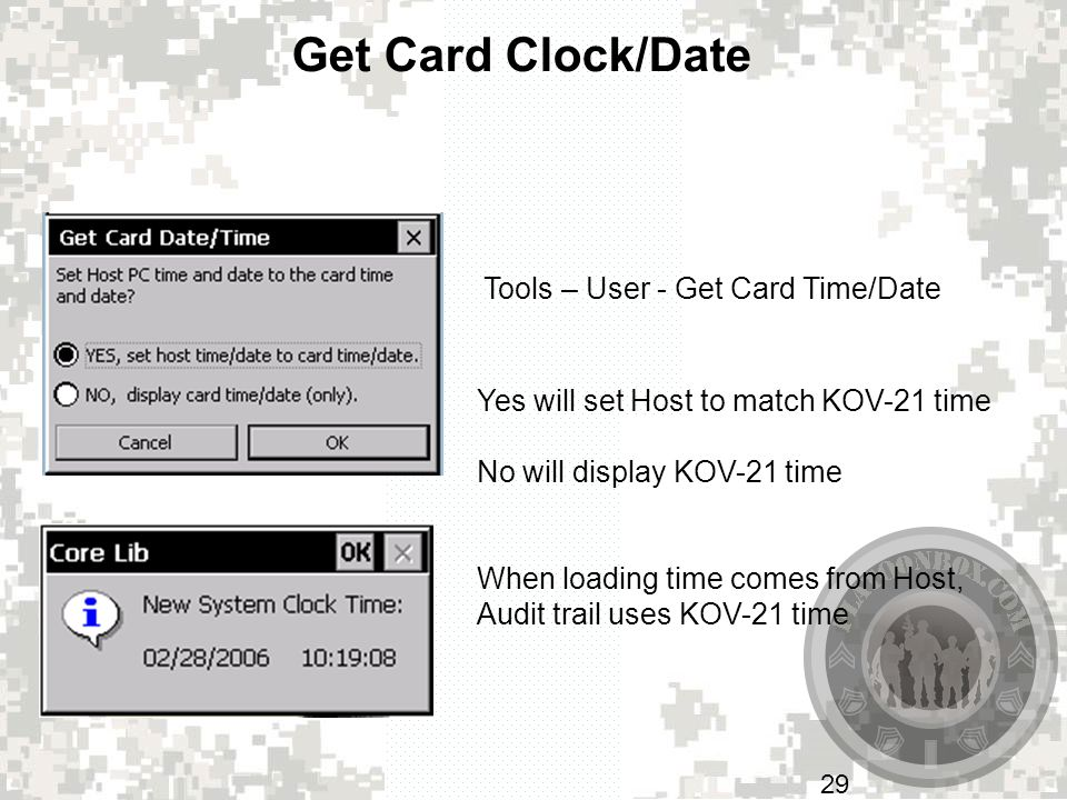 Get Card Clock/Date Tools – User - Get Card Time/Date