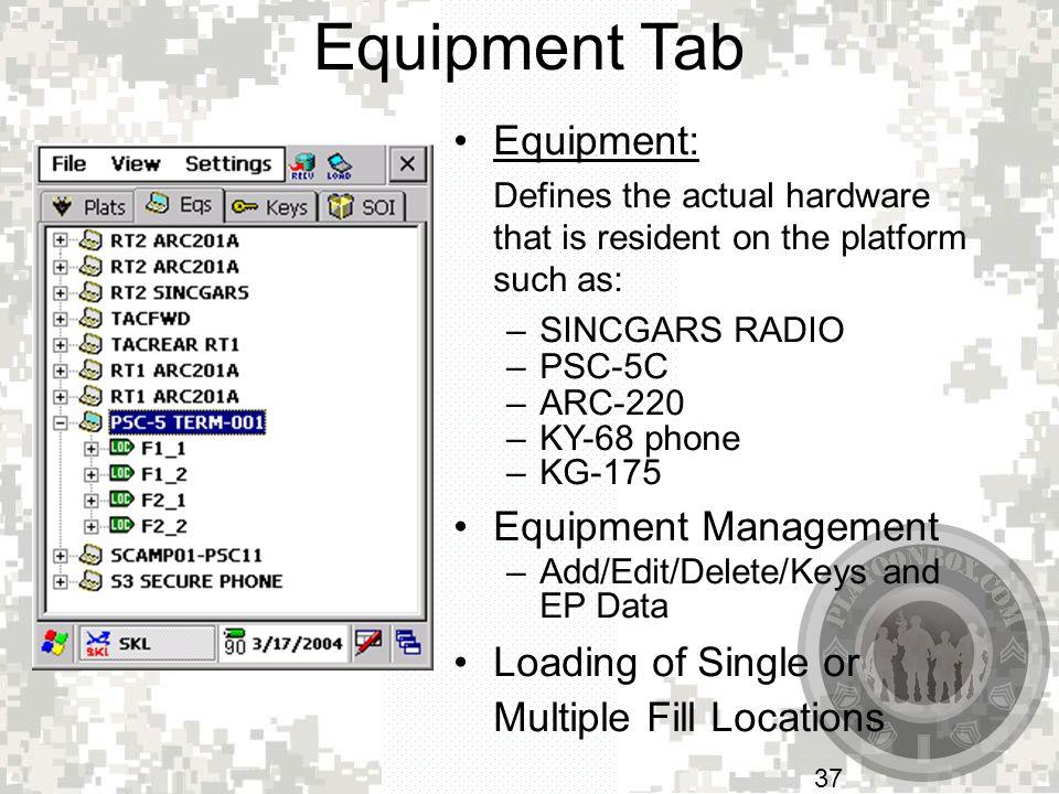 Equipment Tab Equipment: Equipment Management