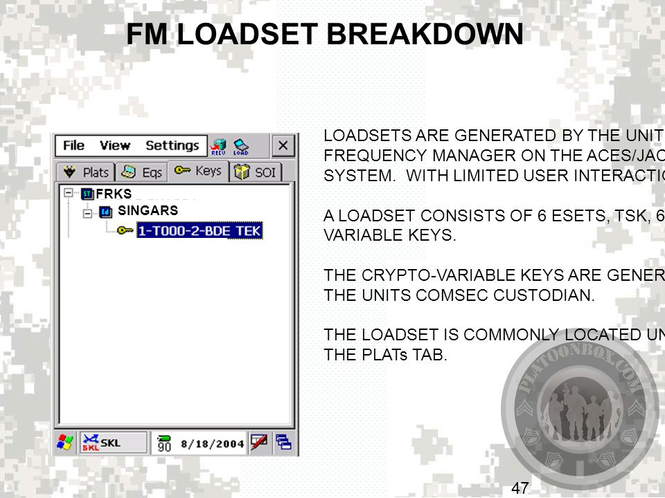 FM LOADSET BREAKDOWN LOADSETS ARE GENERATED BY THE UNITS
