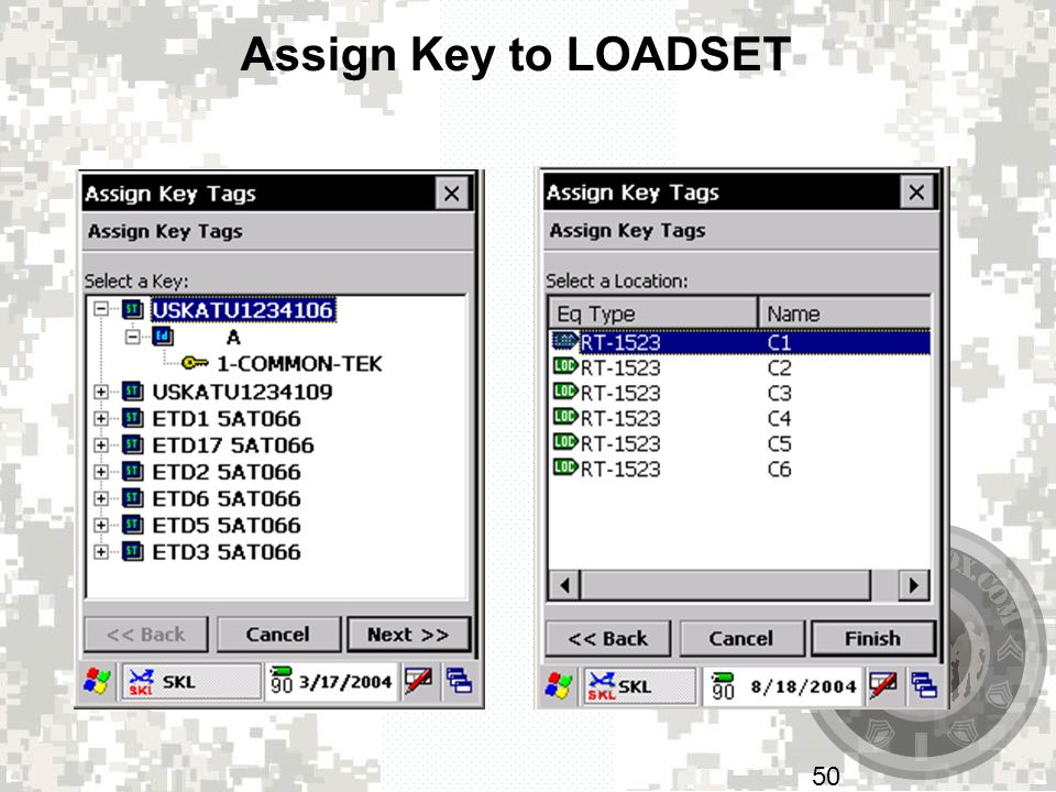 Assign Key to LOADSET Highlight the key or key tag you going to use, tap on next.