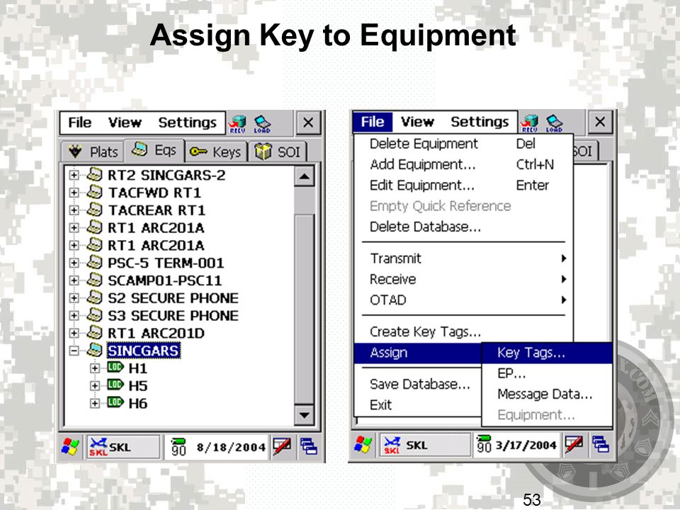 Assign Key to Equipment