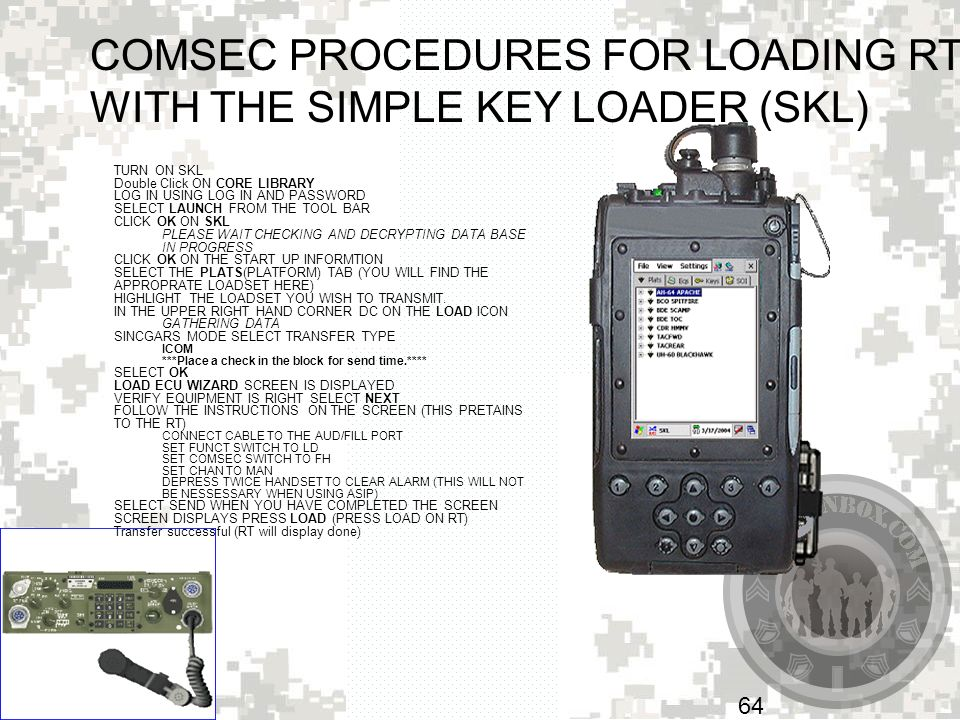 COMSEC PROCEDURES FOR LOADING RTs WITH THE SIMPLE KEY LOADER (SKL)