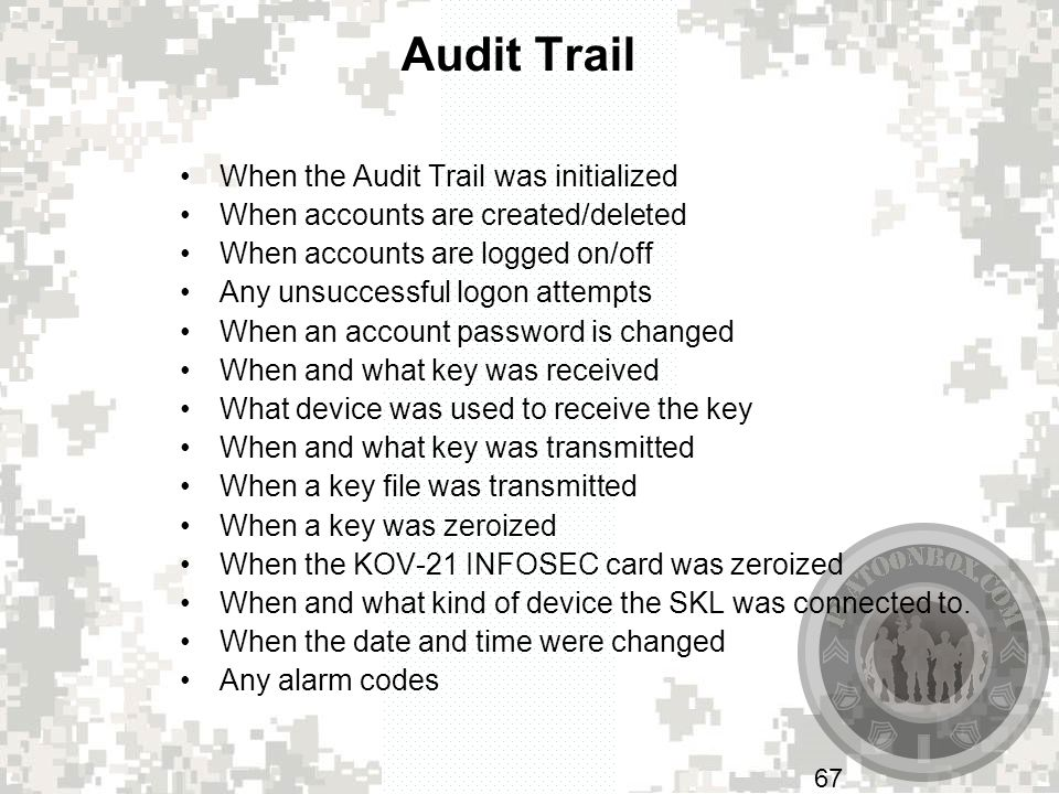 Audit Trail When the Audit Trail was initialized