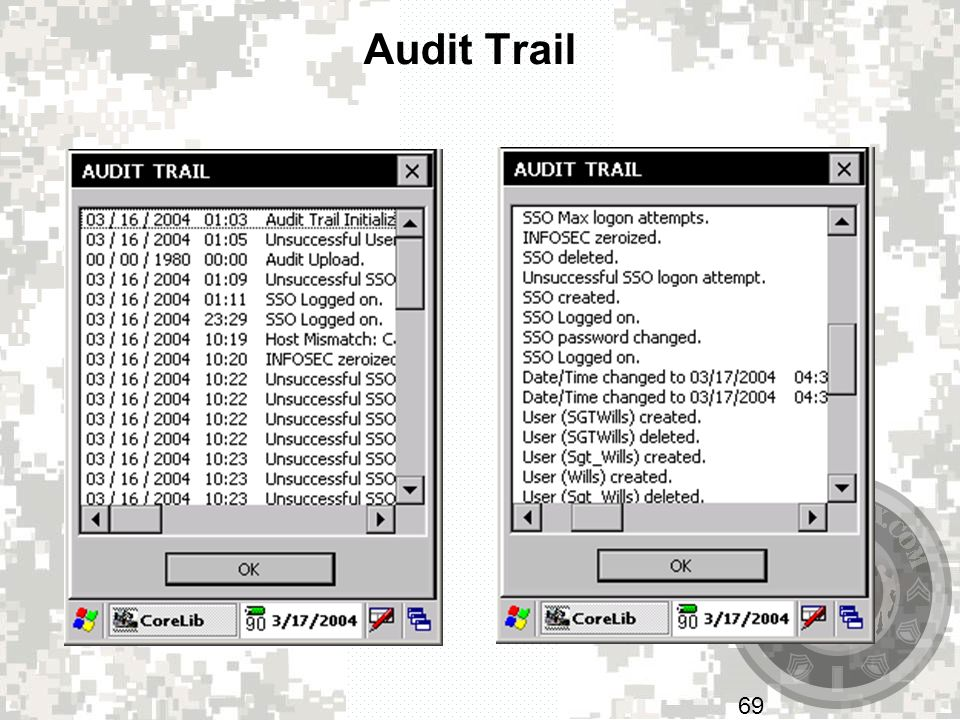 Audit Trail Image on left shows the date and time of event