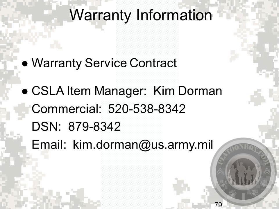 Warranty Information Warranty Service Contract