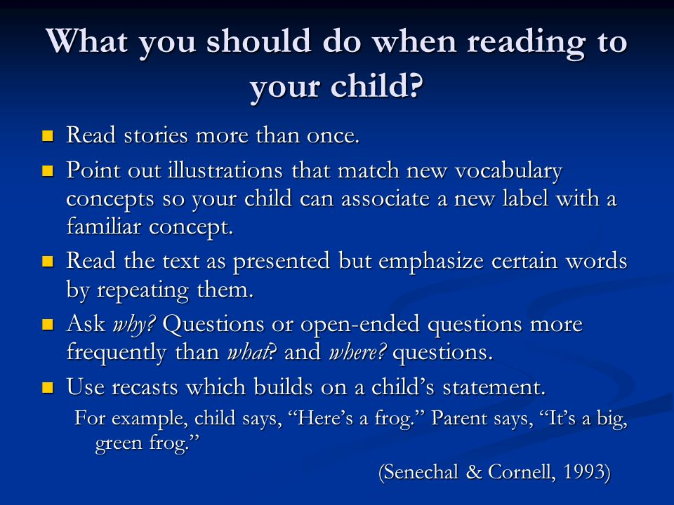 What you should do when reading to your child