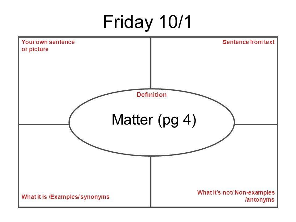 Friday 10/1 Matter (pg 4) Definition Your own sentence or picture