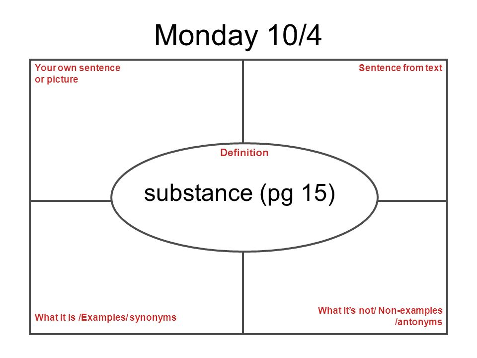 Monday 10/4 substance (pg 15) Definition Your own sentence or picture