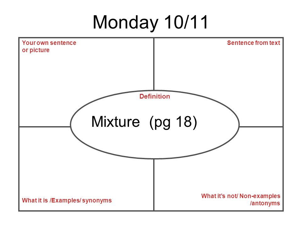 Monday 10/11 Mixture (pg 18) Definition Your own sentence or picture
