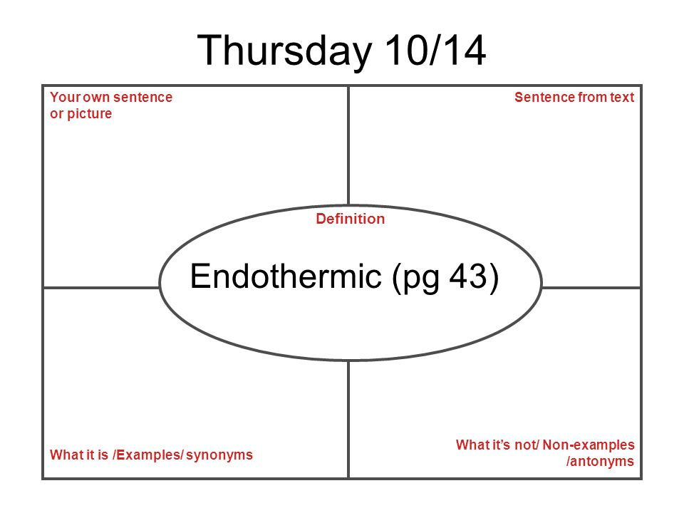 Thursday 10/14 Endothermic (pg 43) Definition