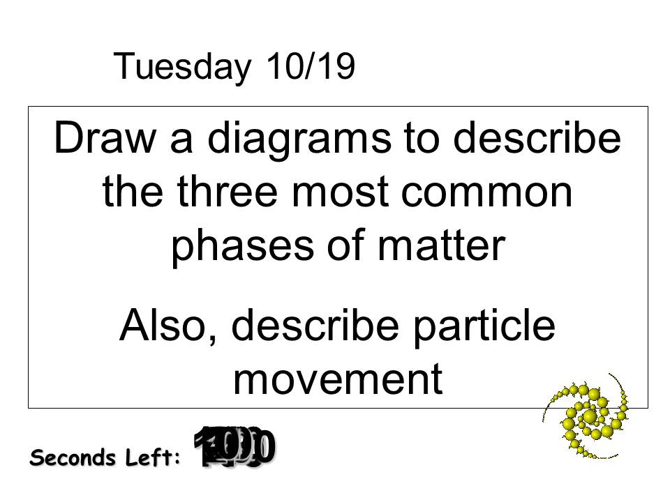 Draw a diagrams to describe the three most common phases of matter