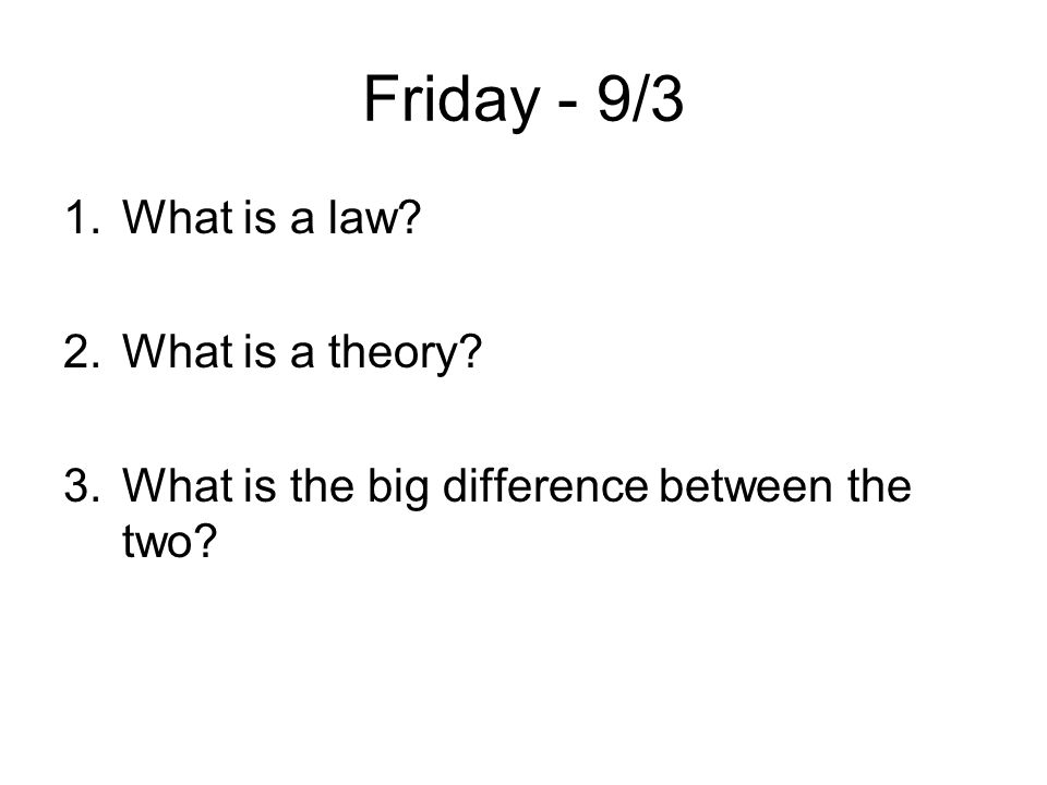 Friday - 9/3 What is a law What is a theory