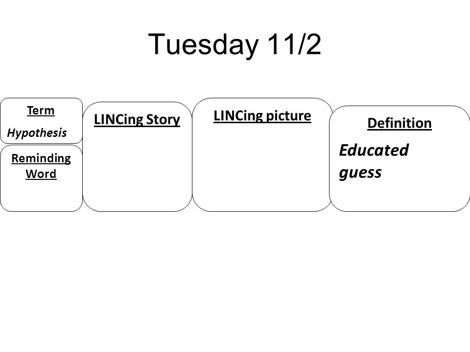 Tuesday 11/2 Educated guess LINCing picture LINCing Story Definition