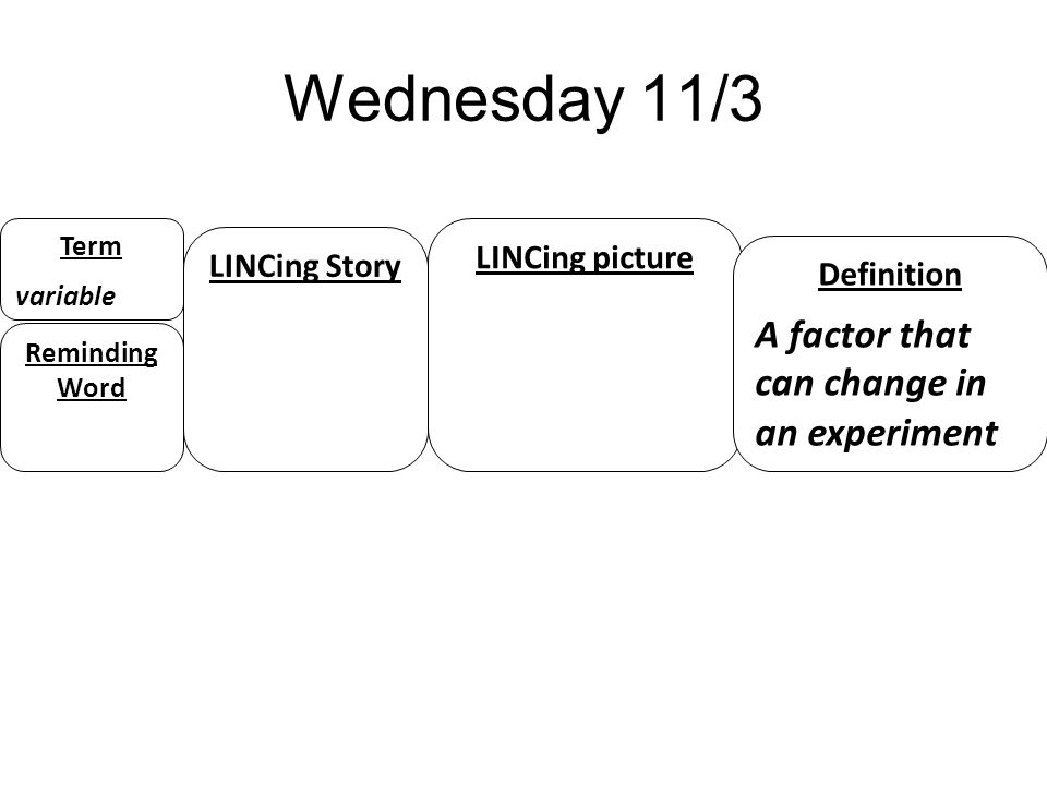 Wednesday 11/3 A factor that can change in an experiment