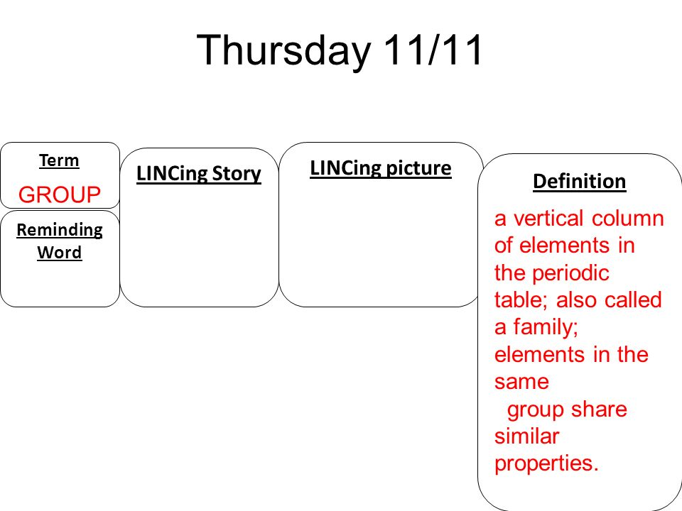 Thursday 11/11 LINCing picture LINCing Story GROUP Definition