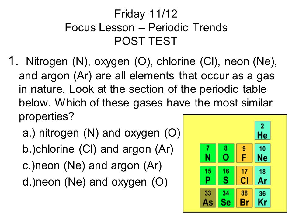 Friday 11/12 Focus Lesson – Periodic Trends POST TEST