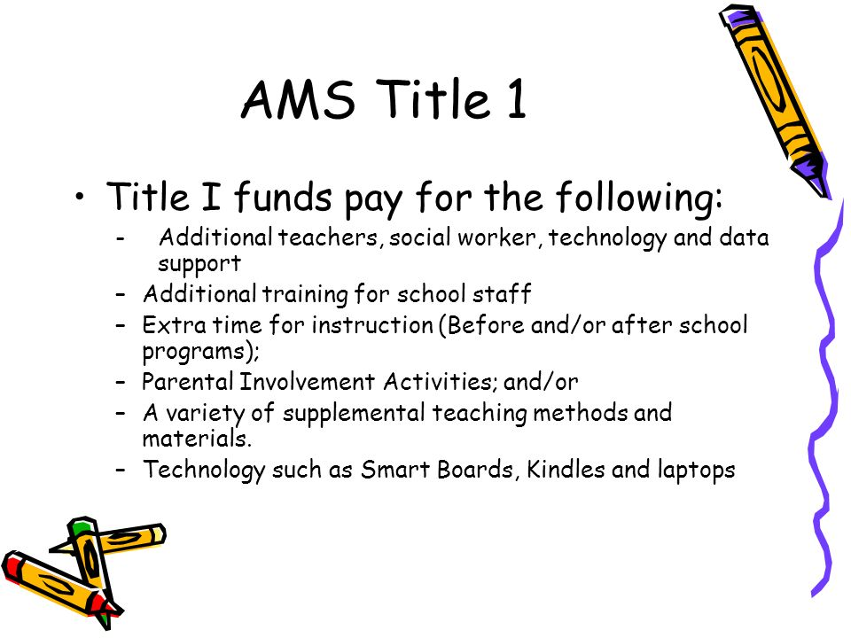AMS Title 1 Title I funds pay for the following: