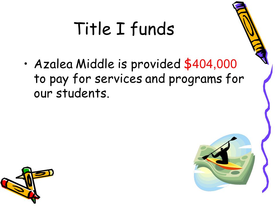 Title I funds Azalea Middle is provided $404,000 to pay for services and programs for our students.