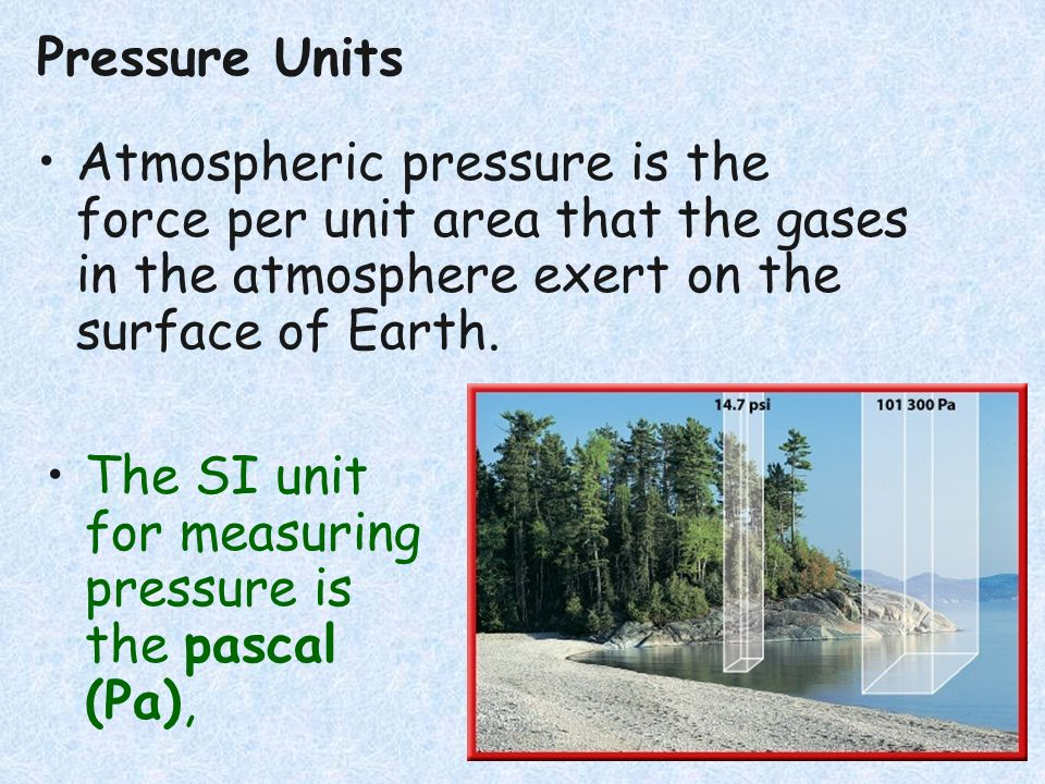 Pressure Units Atmospheric pressure is the force per unit area that the gases in the atmosphere exert on the surface of Earth.