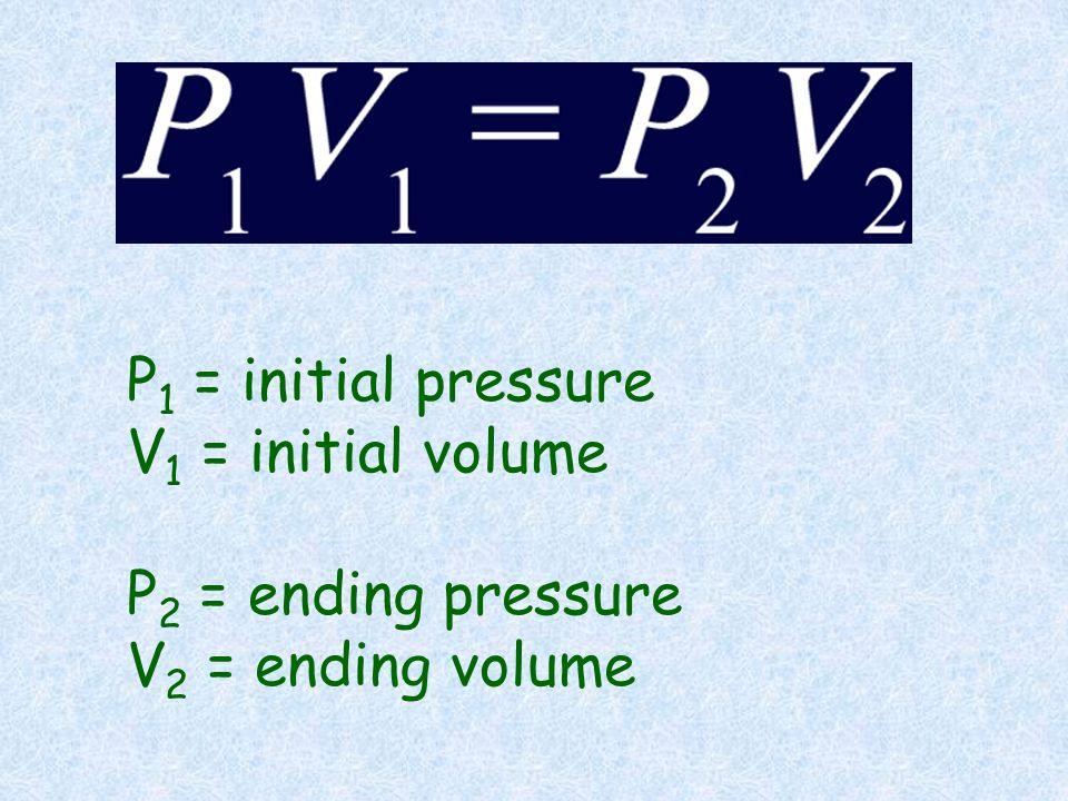 P1 = initial pressure V1 = initial volume P2 = ending pressure V2 = ending volume