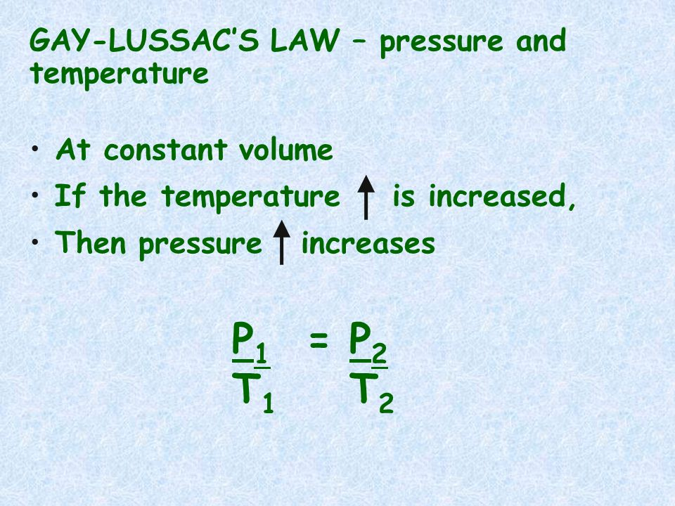 T1 T2 GAY-LUSSAC'S LAW – pressure and temperature At constant volume