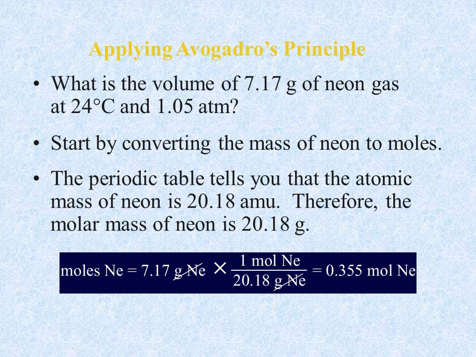 Applying Avogadro's Principle