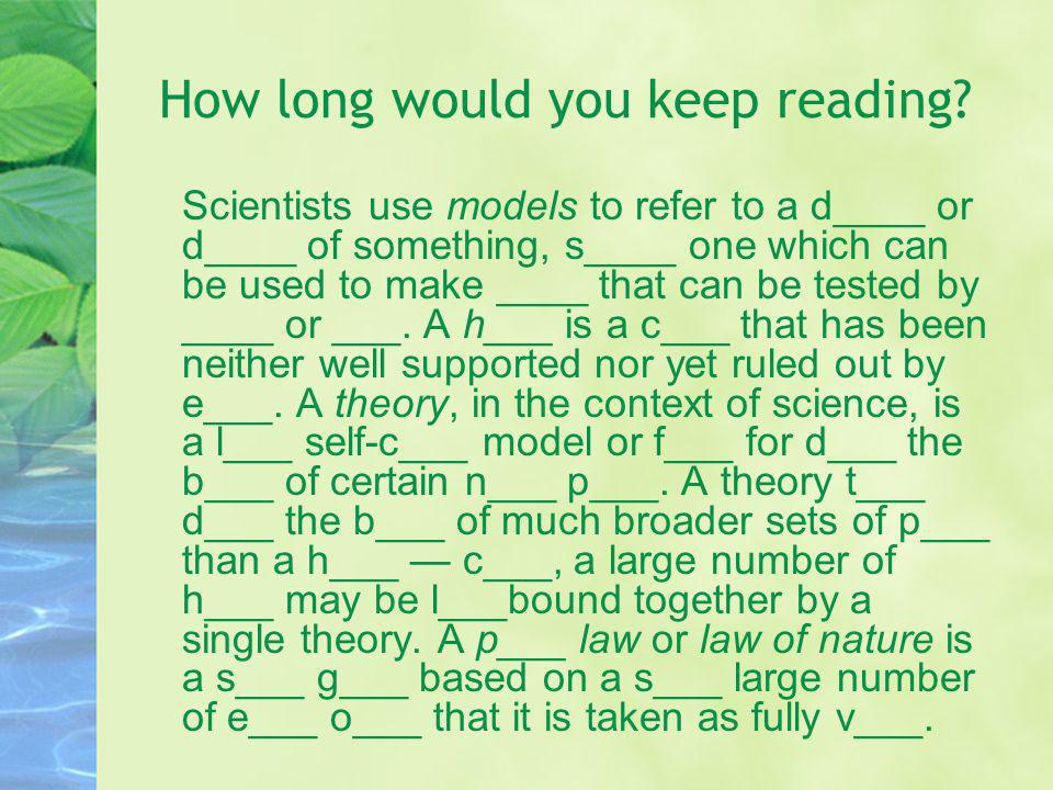 How long would you keep reading