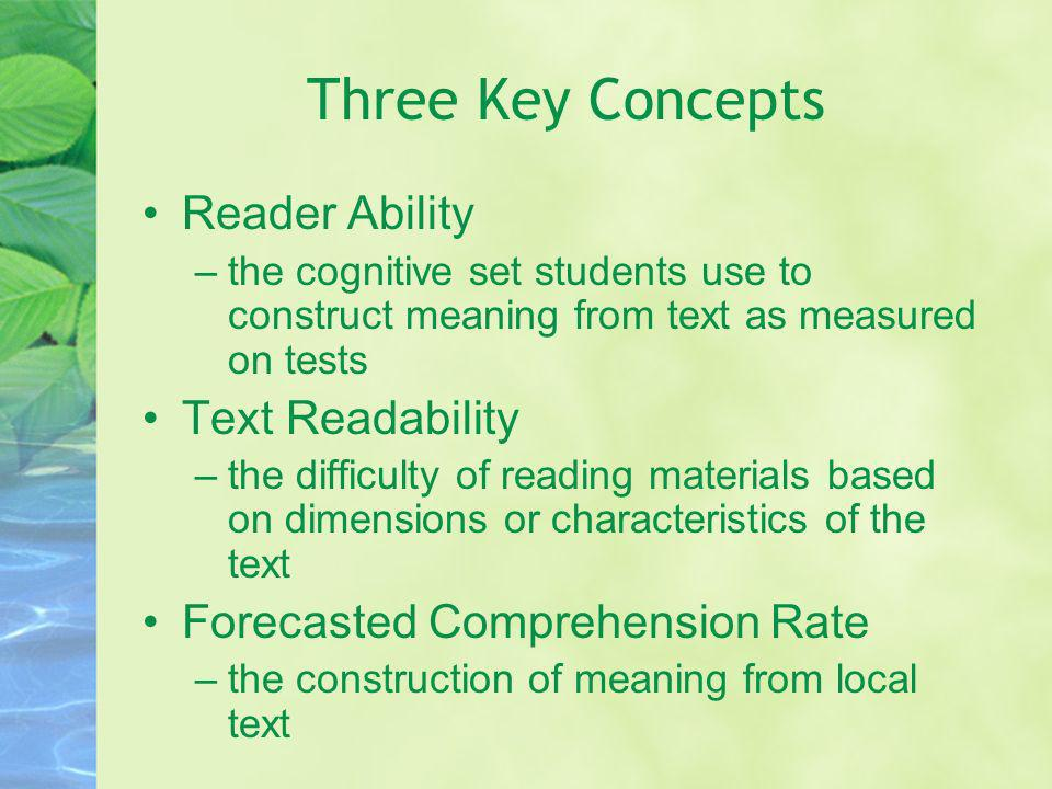 Three Key Concepts Reader Ability Text Readability