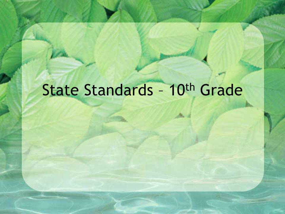 State Standards – 10th Grade