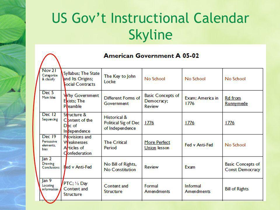 US Gov't Instructional Calendar Skyline