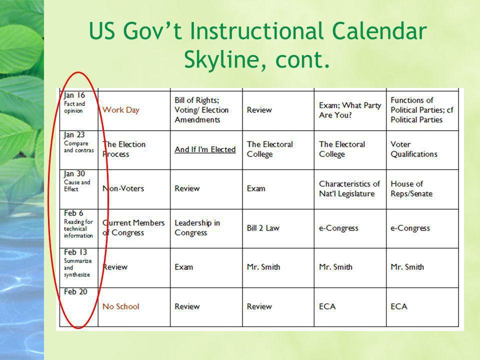 US Gov't Instructional Calendar Skyline, cont.