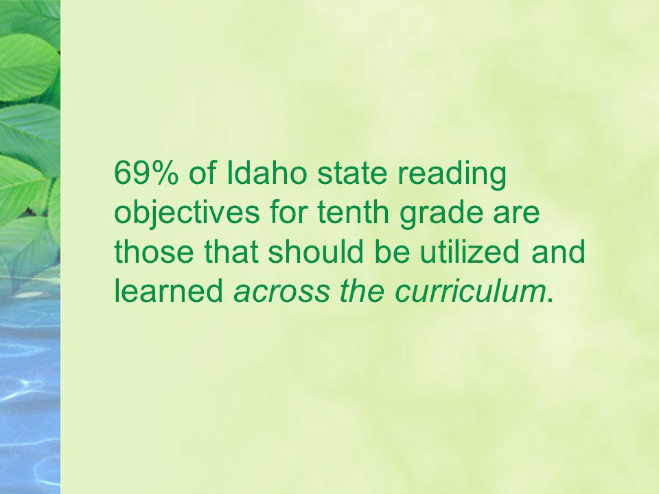 69% of Idaho state reading objectives for tenth grade are those that should be utilized and learned across the curriculum.