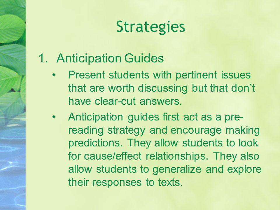 Strategies Anticipation Guides