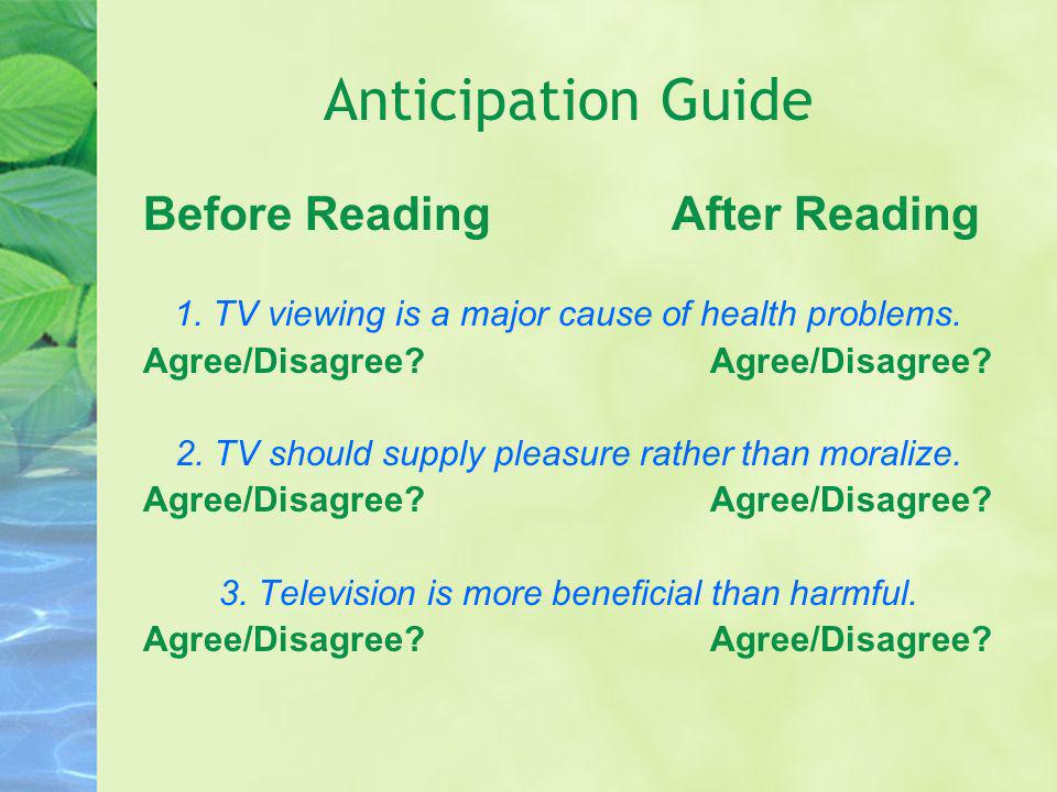 Anticipation Guide Before Reading After Reading