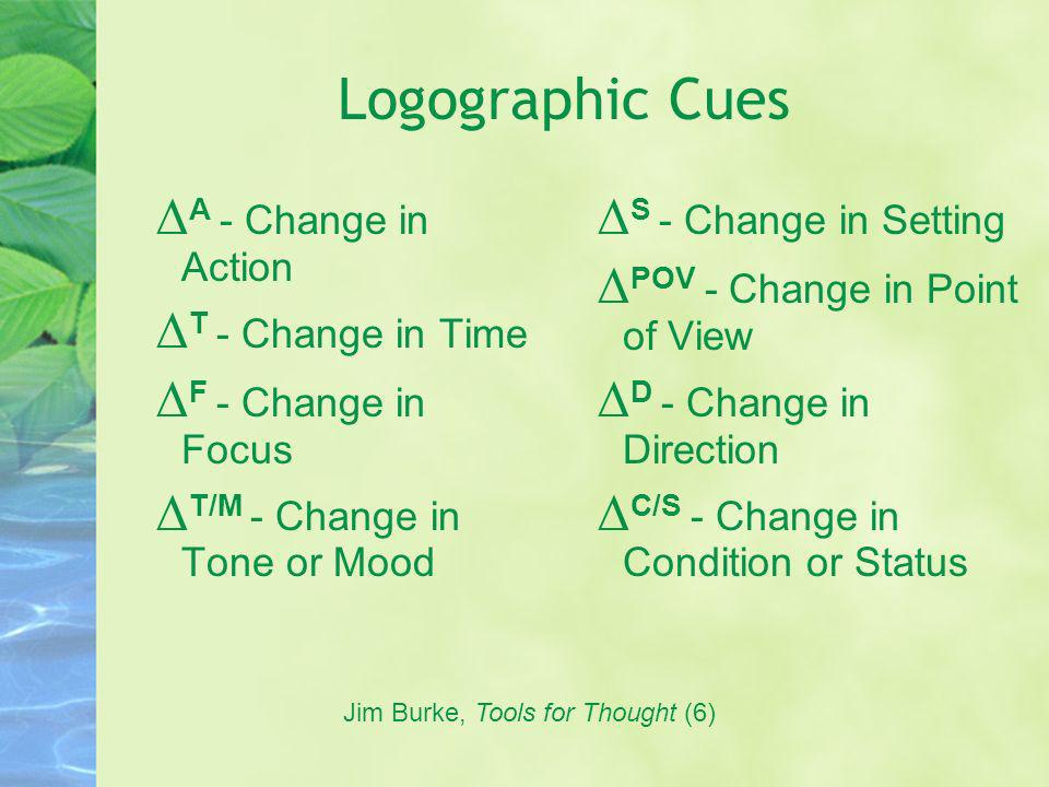 Logographic Cues ∆ A - Change in Action ∆ T - Change in Time