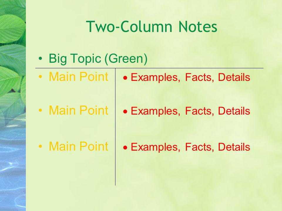 Two-Column Notes Big Topic (Green)