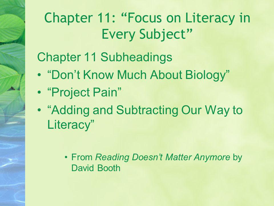 Chapter 11: Focus on Literacy in Every Subject