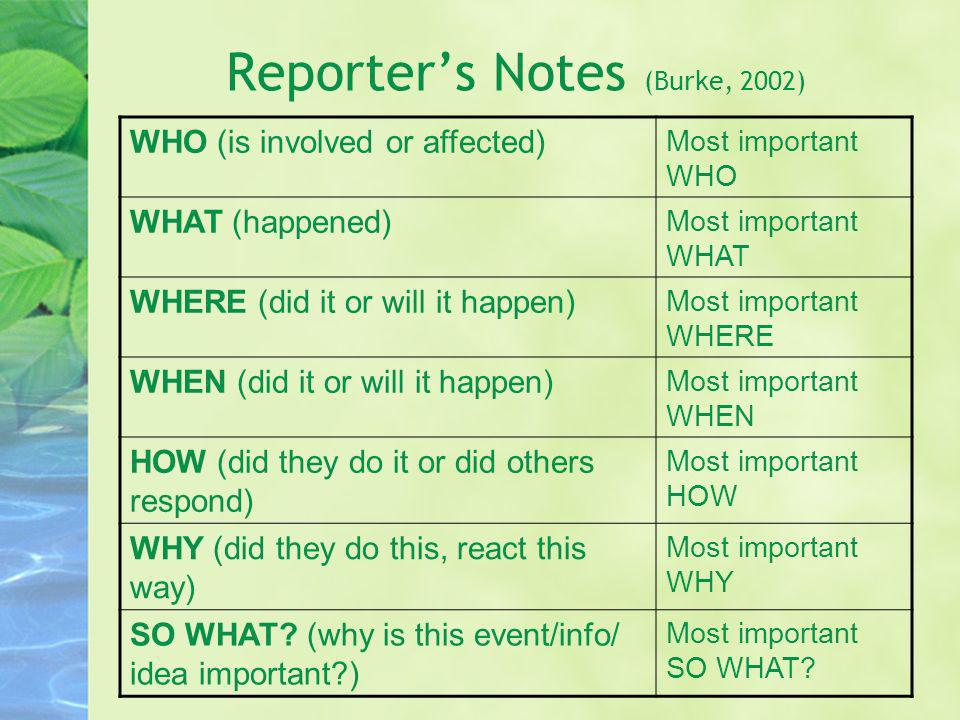 Reporter's Notes (Burke, 2002)