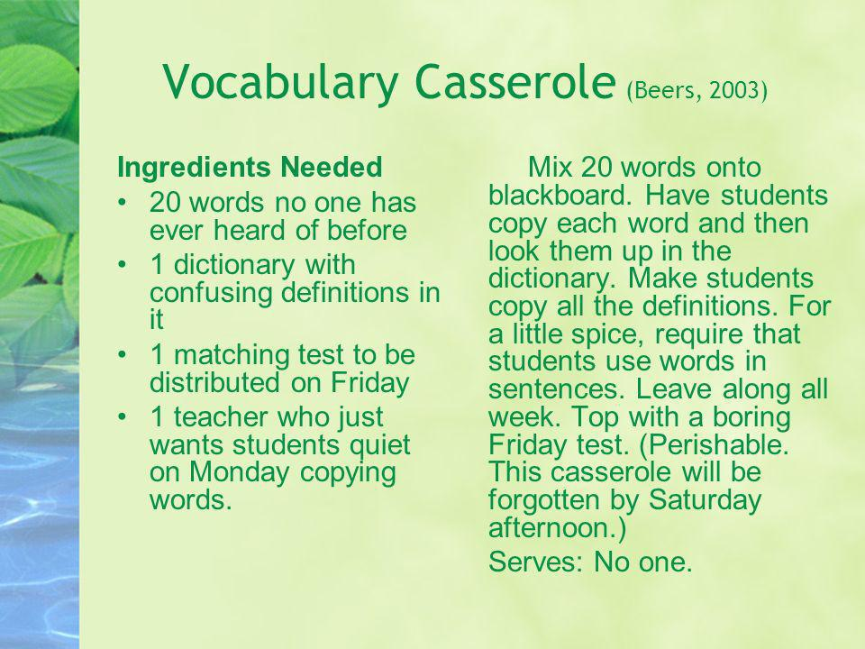 Vocabulary Casserole (Beers, 2003)